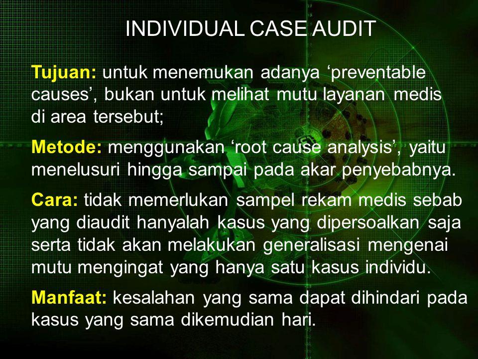 INDIVIDUAL CASE AUDIT Tujuan: untuk menemukan adanya 'preventable