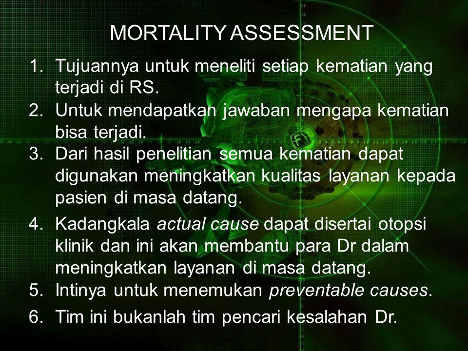 MORTALITY ASSESSMENT Tujuannya untuk meneliti setiap kematian yang