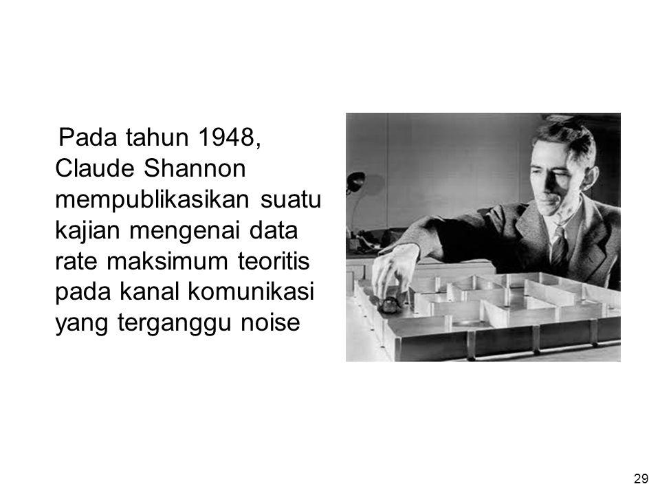 Pada tahun 1948, Claude Shannon mempublikasikan suatu kajian mengenai data rate maksimum teoritis pada kanal komunikasi yang terganggu noise