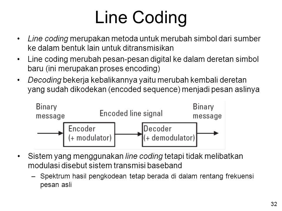 Line Coding Line coding merupakan metoda untuk merubah simbol dari sumber ke dalam bentuk lain untuk ditransmisikan.