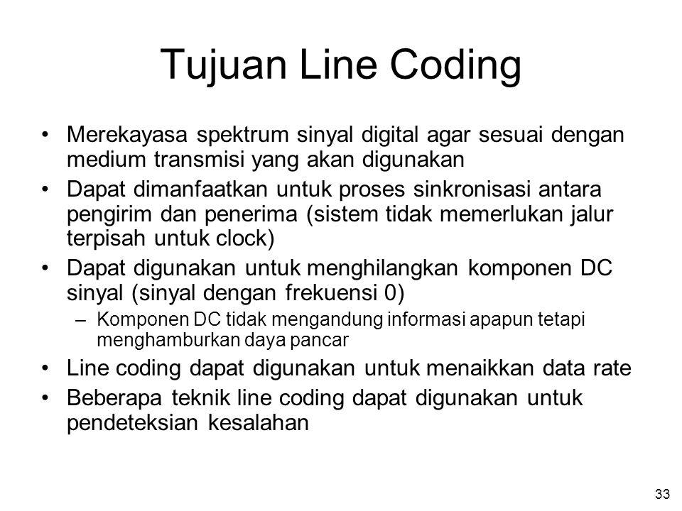 Tujuan Line Coding Merekayasa spektrum sinyal digital agar sesuai dengan medium transmisi yang akan digunakan.