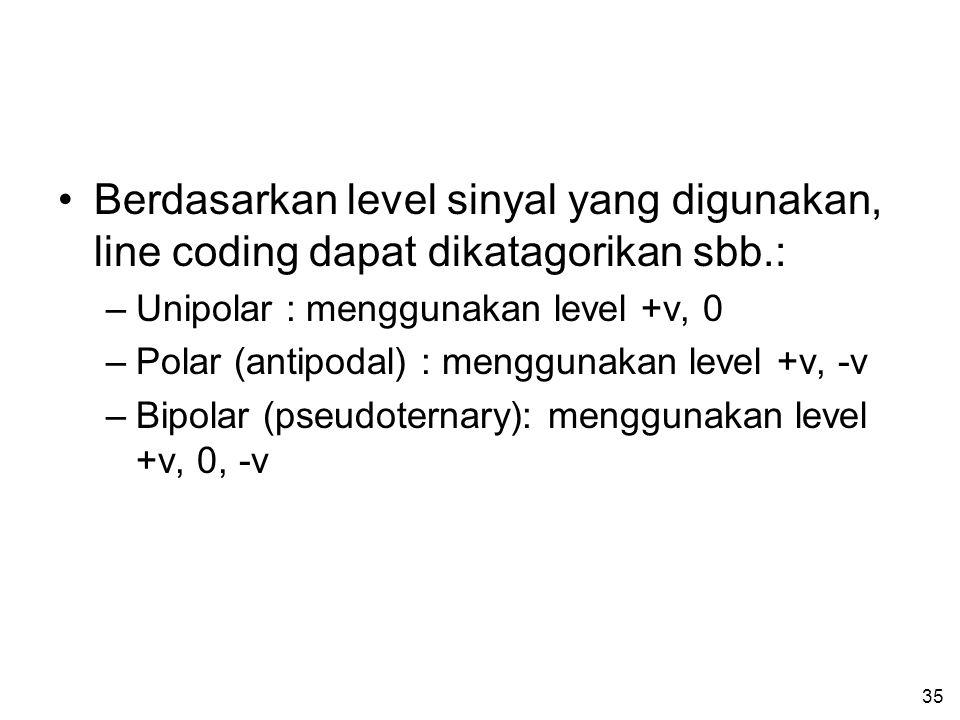Berdasarkan level sinyal yang digunakan, line coding dapat dikatagorikan sbb.: