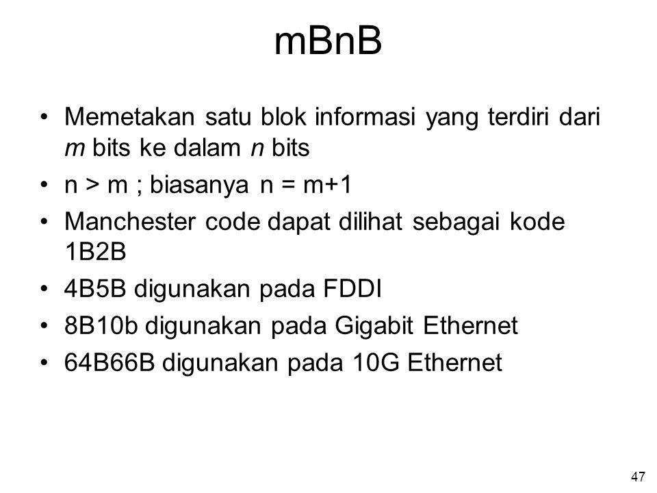 mBnB Memetakan satu blok informasi yang terdiri dari m bits ke dalam n bits. n > m ; biasanya n = m+1.