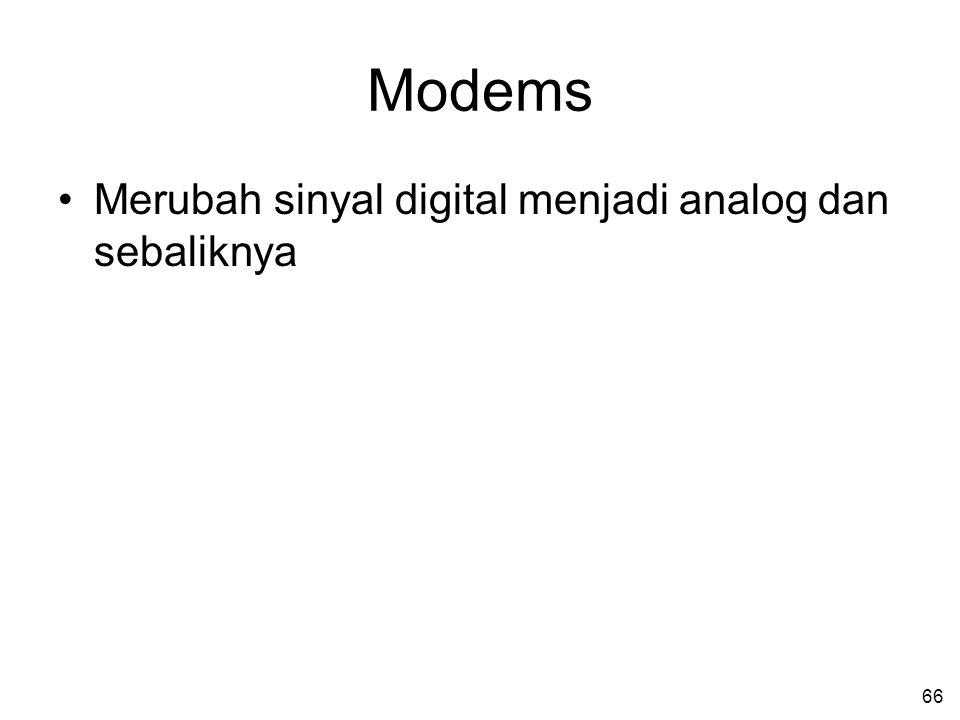 Modems Merubah sinyal digital menjadi analog dan sebaliknya