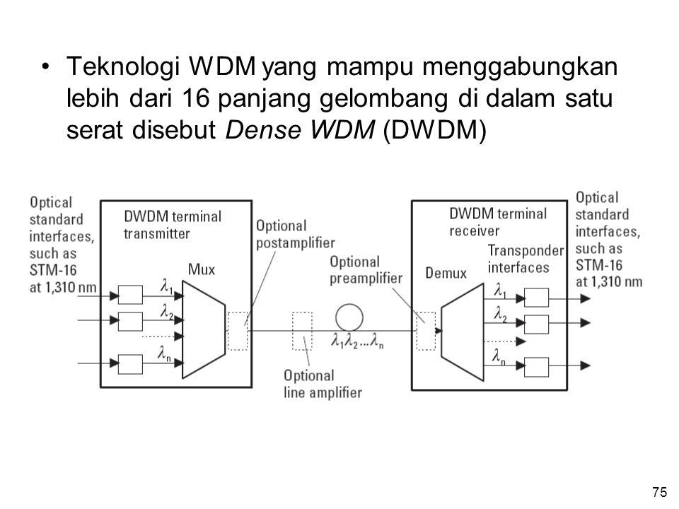 Teknologi WDM yang mampu menggabungkan lebih dari 16 panjang gelombang di dalam satu serat disebut Dense WDM (DWDM)