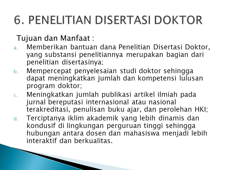 6. PENELITIAN DISERTASI DOKTOR