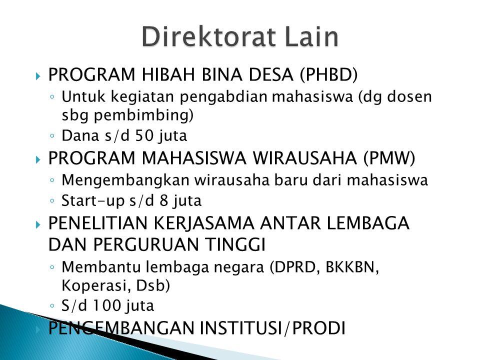 Direktorat Lain PROGRAM HIBAH BINA DESA (PHBD)