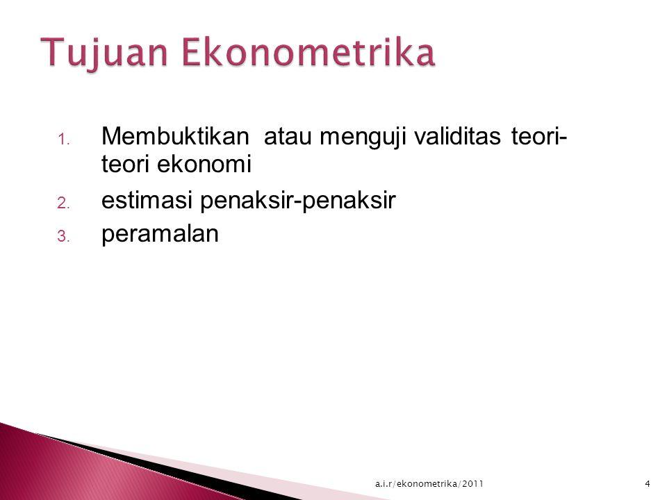 Tujuan Ekonometrika Membuktikan atau menguji validitas teori- teori ekonomi. estimasi penaksir-penaksir.