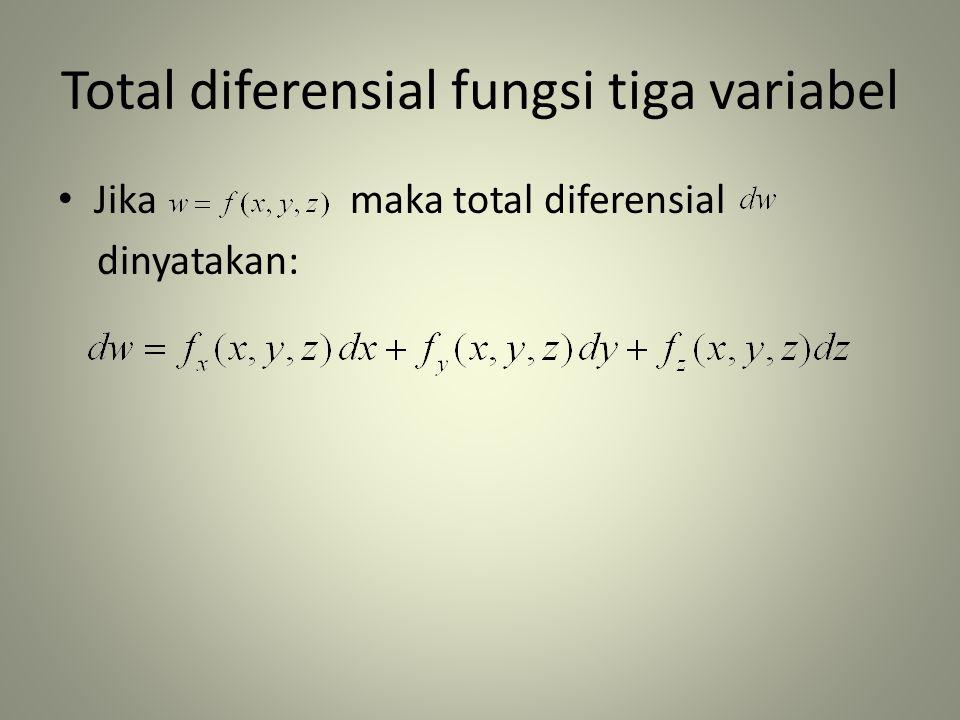Total diferensial fungsi tiga variabel