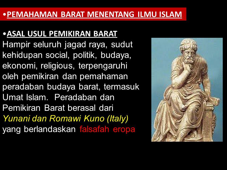 PEMAHAMAN BARAT MENENTANG ILMU ISLAM