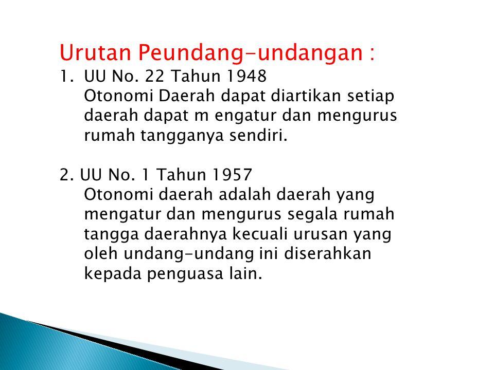 Urutan Peundang-undangan :