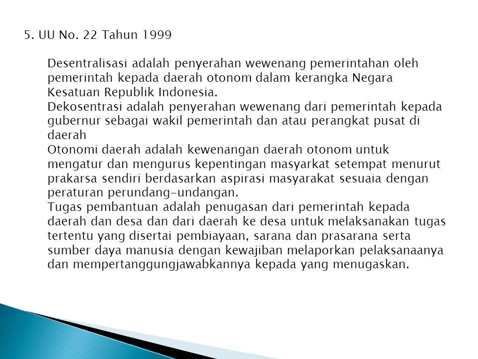 5. UU No. 22 Tahun 1999