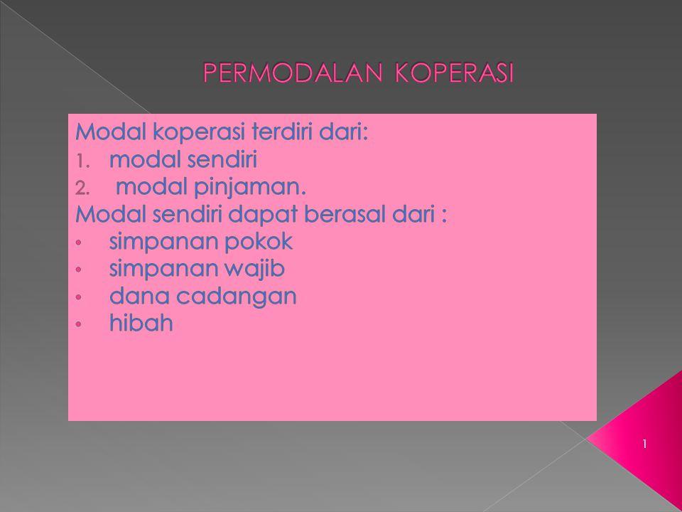 PERMODALAN KOPERASI Modal koperasi terdiri dari: modal sendiri