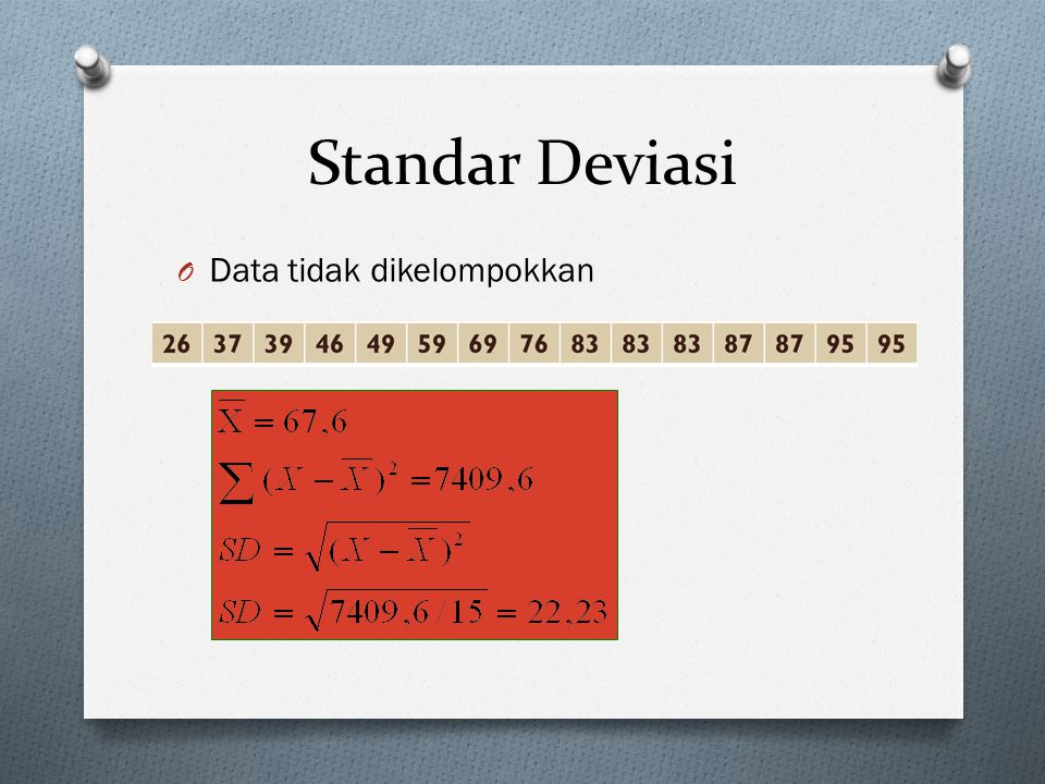 Standar Deviasi Data tidak dikelompokkan