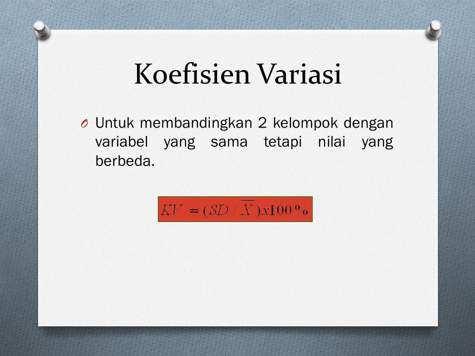 Koefisien Variasi Untuk membandingkan 2 kelompok dengan variabel yang sama tetapi nilai yang berbeda.
