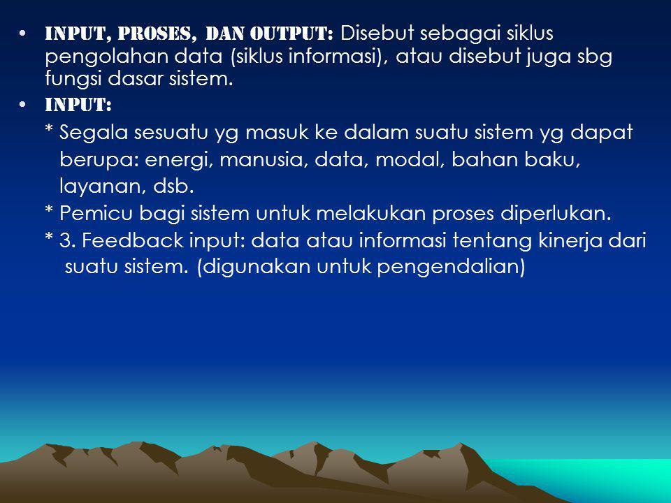 Input, proses, dan output: Disebut sebagai siklus pengolahan data (siklus informasi), atau disebut juga sbg fungsi dasar sistem.