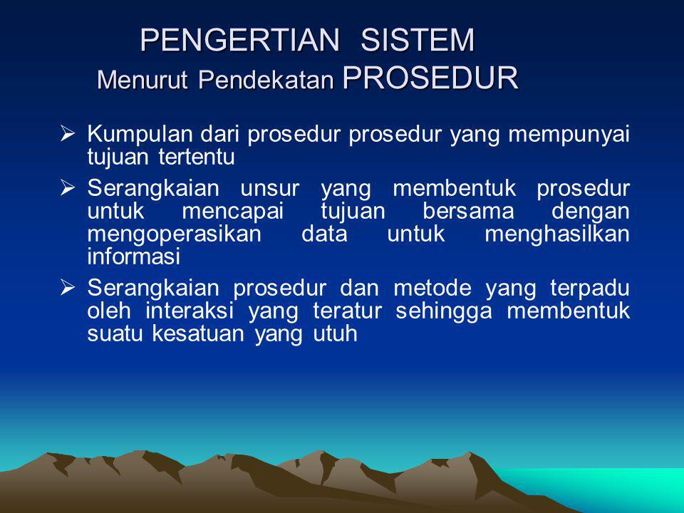 PENGERTIAN SISTEM Menurut Pendekatan PROSEDUR