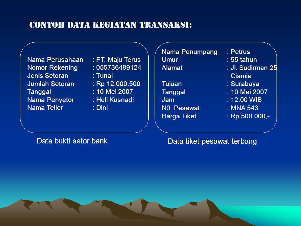 contoh data kegiatan transaksi:
