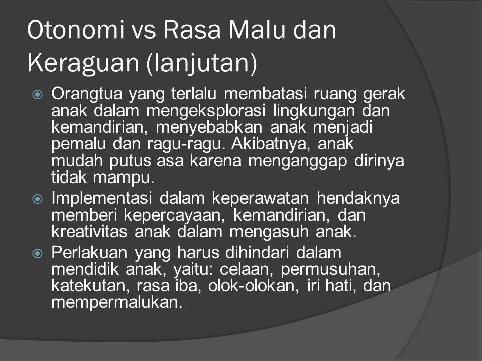 Otonomi vs Rasa Malu dan Keraguan (lanjutan)