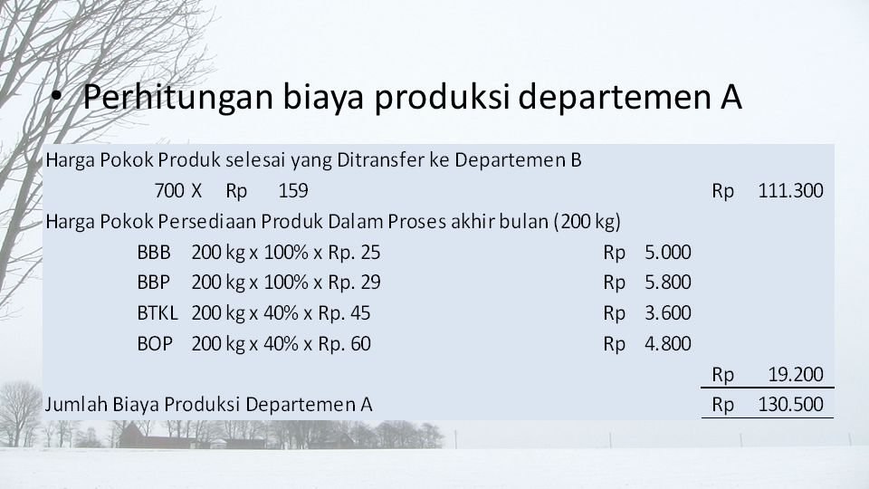 Perhitungan biaya produksi departemen A