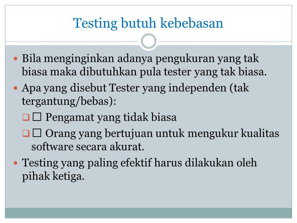 Testing butuh kebebasan