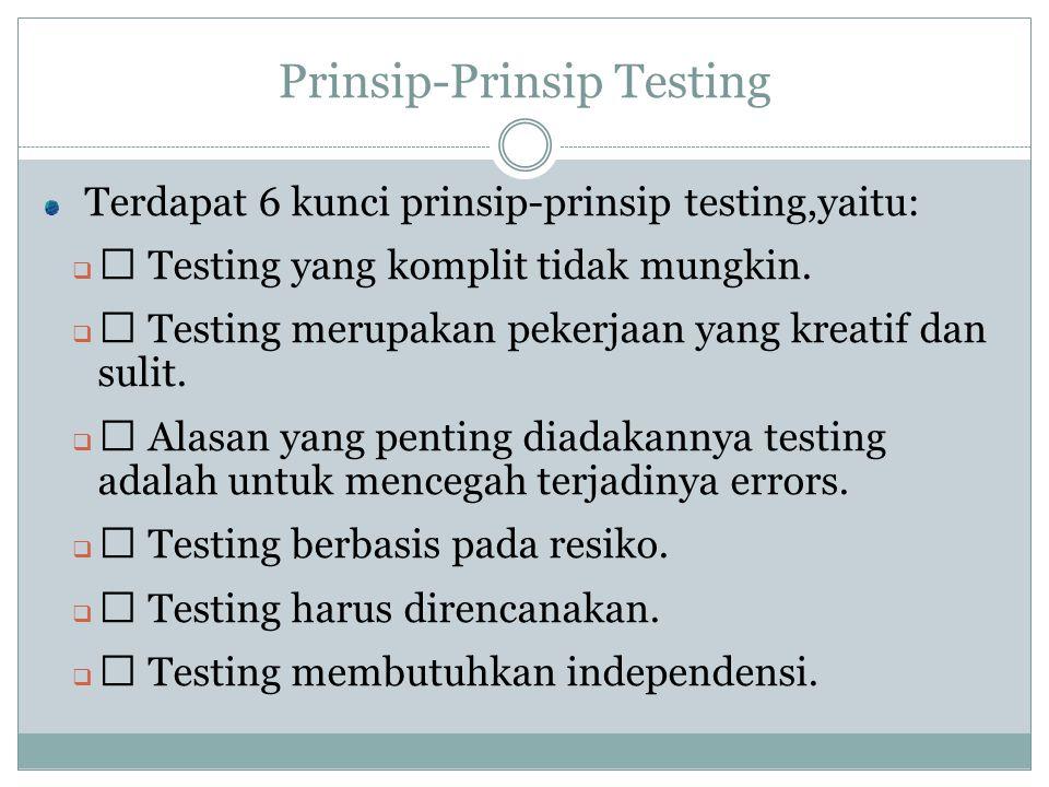 Prinsip-Prinsip Testing