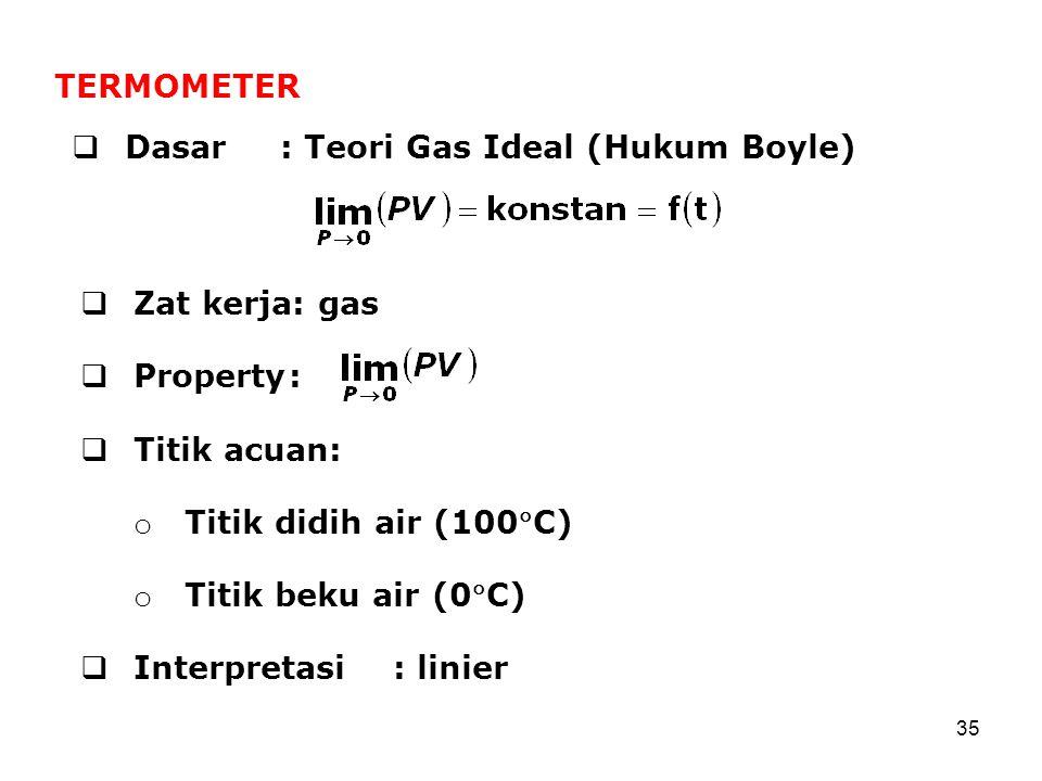 TERMOMETER Dasar : Teori Gas Ideal (Hukum Boyle) Zat kerja: gas. Property : Titik acuan: Titik didih air (100C)