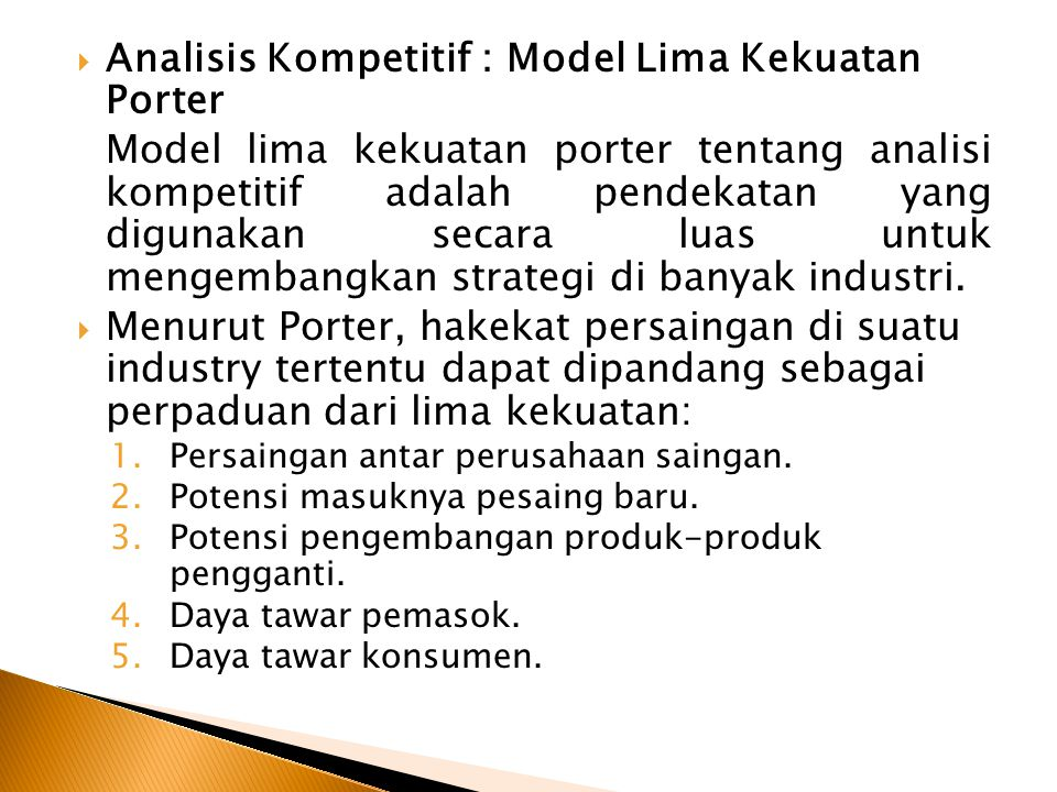 Analisis Kompetitif : Model Lima Kekuatan Porter