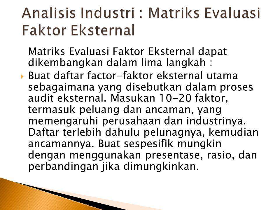 Analisis Industri : Matriks Evaluasi Faktor Eksternal