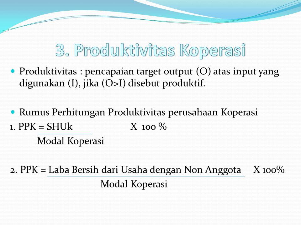 3. Produktivitas Koperasi