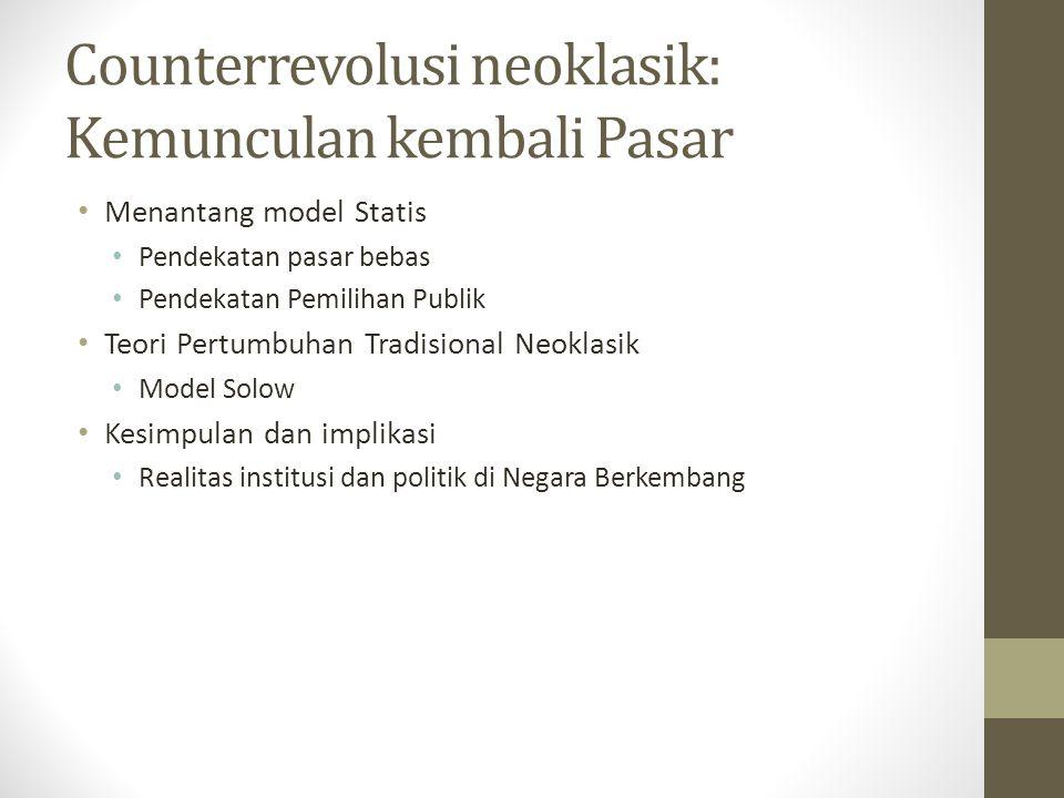 Counterrevolusi neoklasik: Kemunculan kembali Pasar