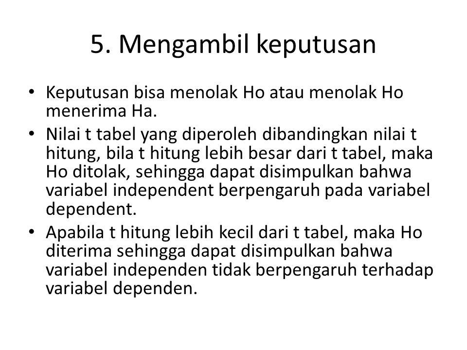 5. Mengambil keputusan Keputusan bisa menolak Ho atau menolak Ho menerima Ha.