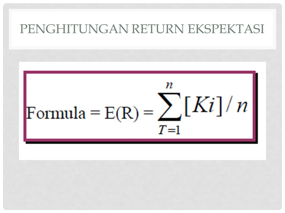 Penghitungan return ekspektasi