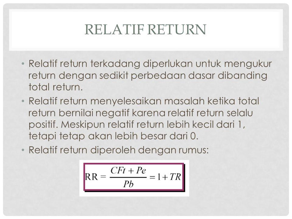 relatif Return Relatif return terkadang diperlukan untuk mengukur return dengan sedikit perbedaan dasar dibanding total return.