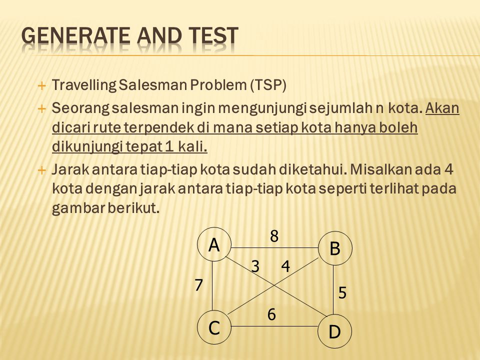 Generate and Test A B C D Travelling Salesman Problem (TSP)