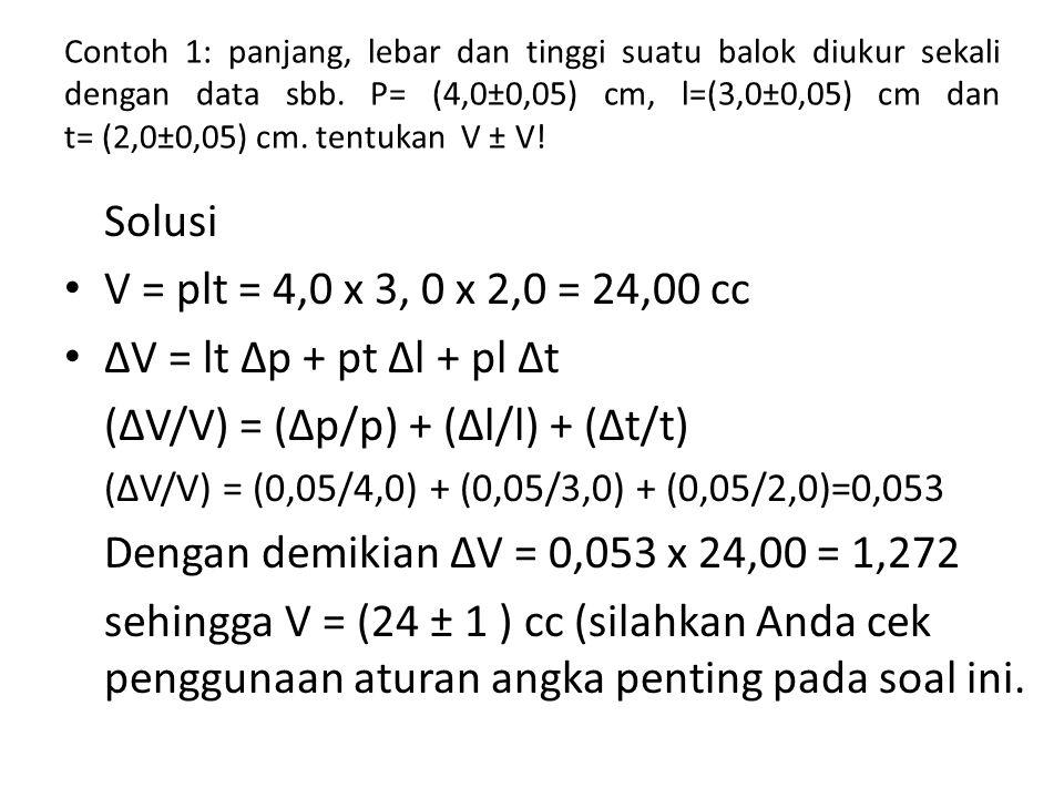 (∆V/V) = (∆p/p) + (∆l/l) + (∆t/t)