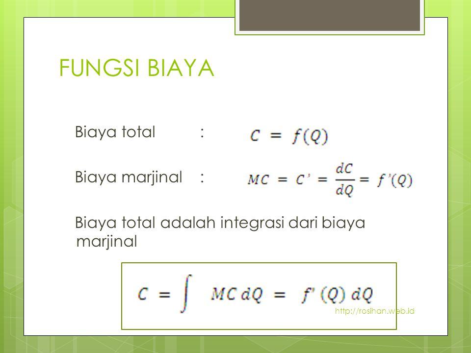 FUNGSI BIAYA Biaya total : Biaya marjinal : Biaya total adalah integrasi dari biaya marjinal http://rosihan.web.id.