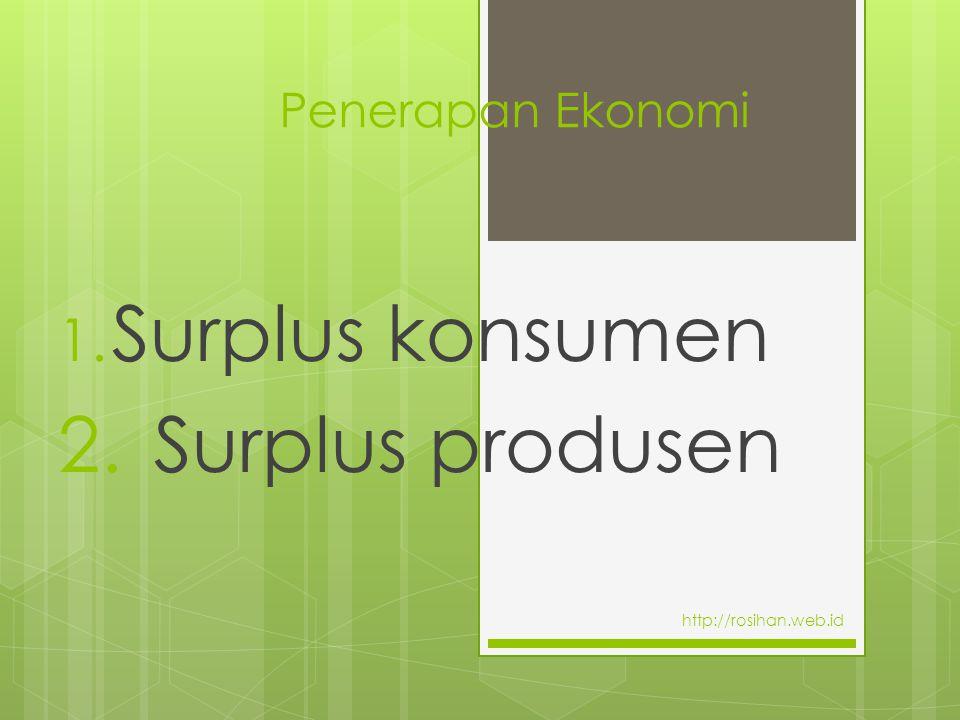 Surplus konsumen 2. Surplus produsen