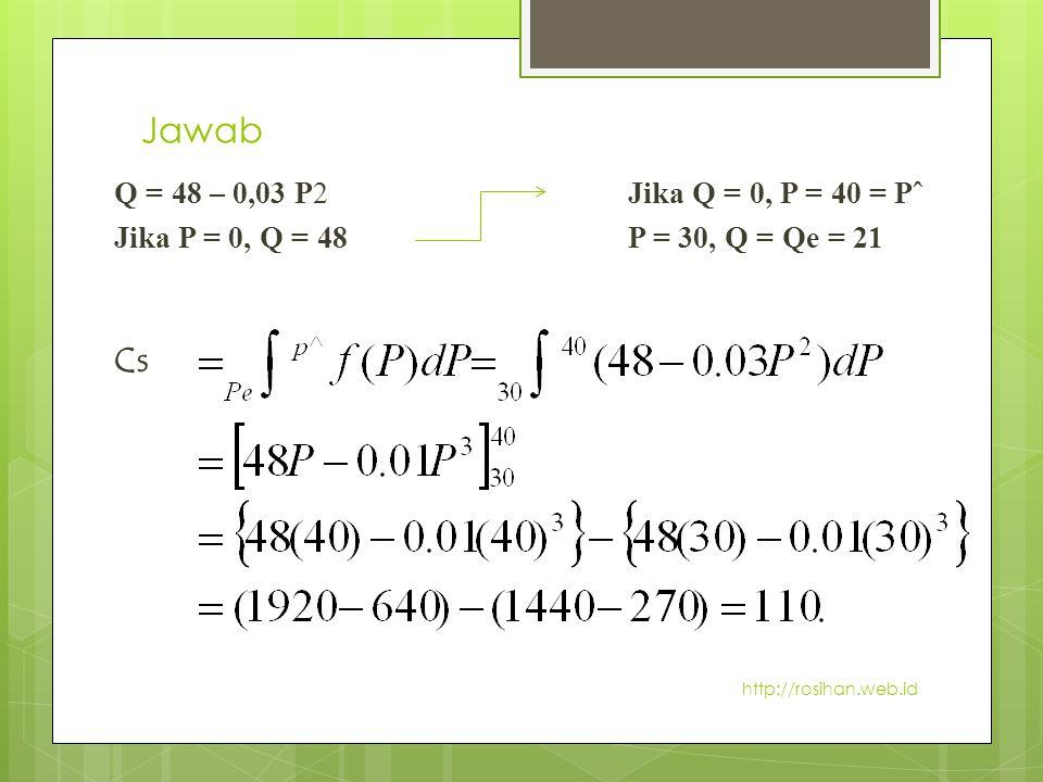 Jawab Q = 48 – 0,03 P2 Jika Q = 0, P = 40 = Pˆ. Jika P = 0, Q = 48 P = 30, Q = Qe = 21.