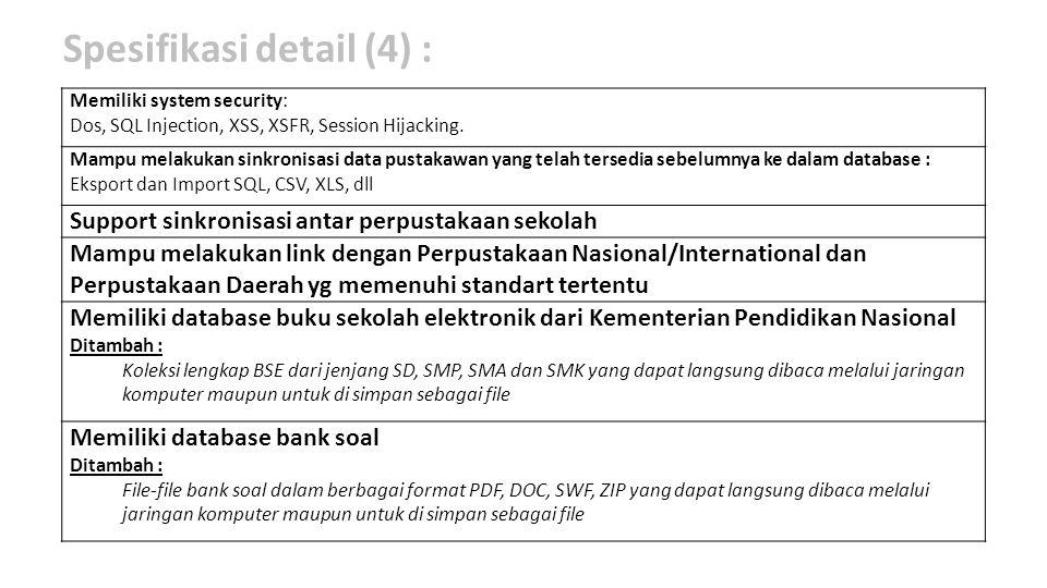Spesifikasi detail (4) :