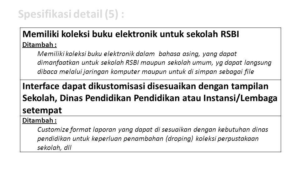 Spesifikasi detail (5) :