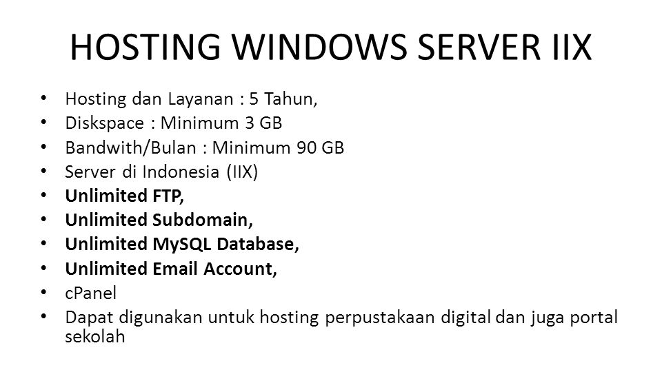 HOSTING WINDOWS SERVER IIX