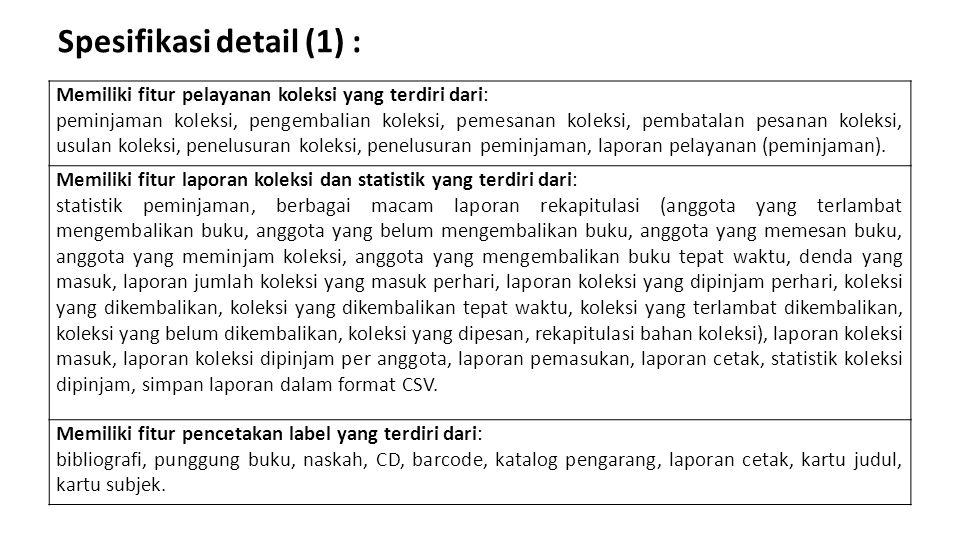 Spesifikasi detail (1) :