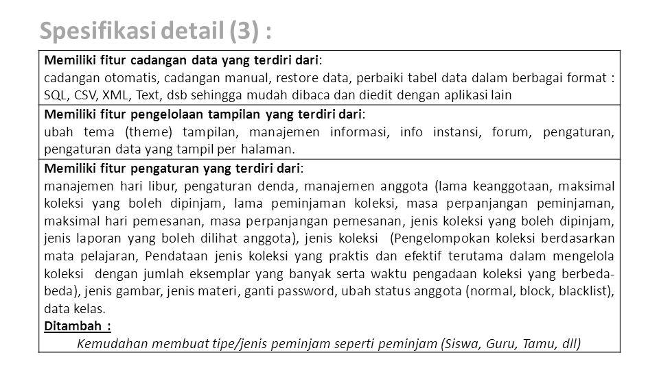Spesifikasi detail (3) :