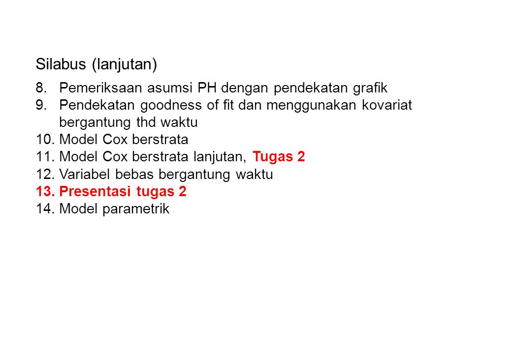 Silabus (lanjutan) Pemeriksaan asumsi PH dengan pendekatan grafik