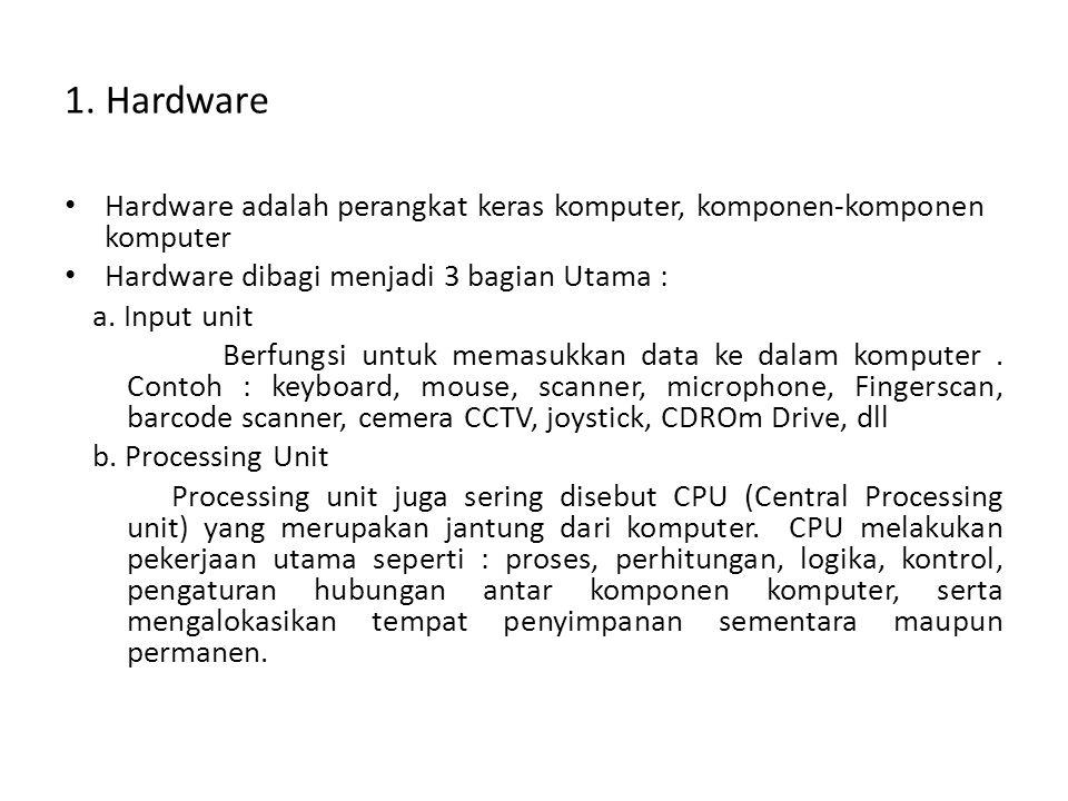 1. Hardware Hardware adalah perangkat keras komputer, komponen-komponen komputer. Hardware dibagi menjadi 3 bagian Utama :