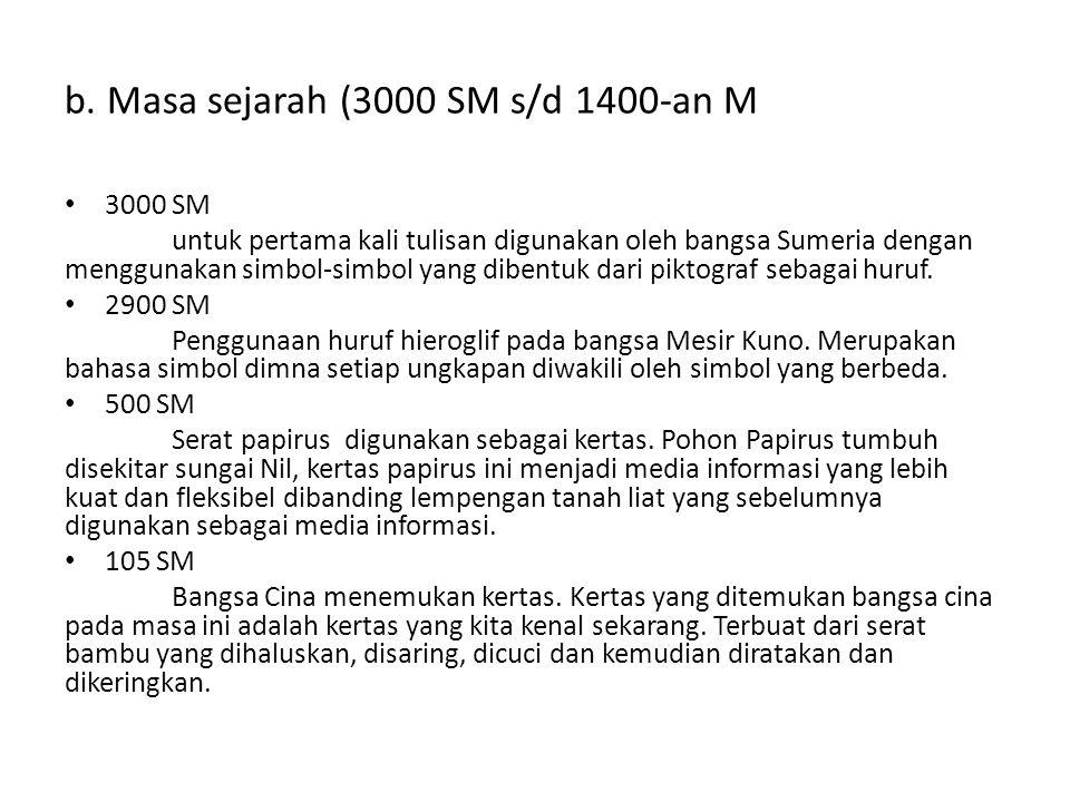 b. Masa sejarah (3000 SM s/d 1400-an M