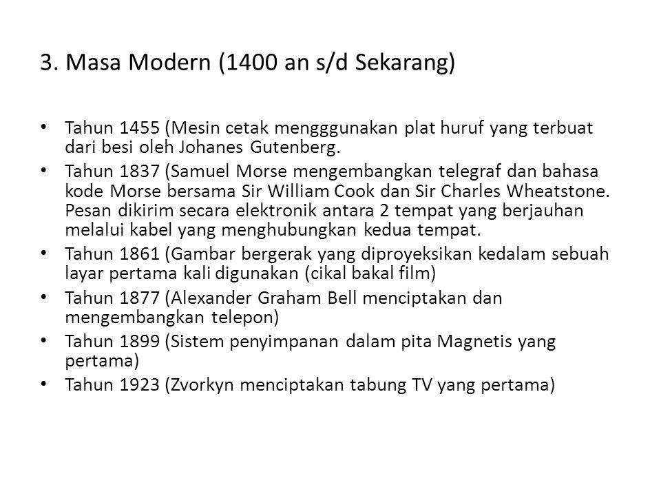 3. Masa Modern (1400 an s/d Sekarang)