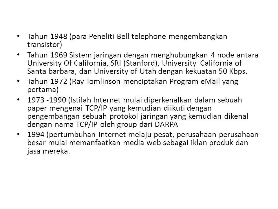 Tahun 1948 (para Peneliti Bell telephone mengembangkan transistor)