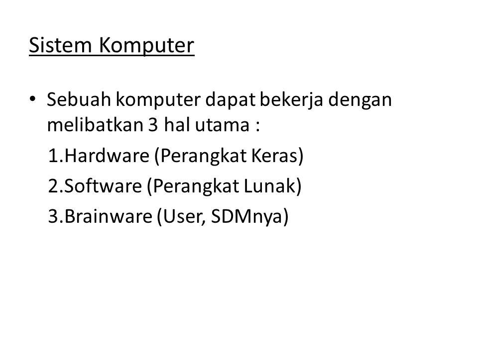Sistem Komputer Sebuah komputer dapat bekerja dengan melibatkan 3 hal utama : Hardware (Perangkat Keras)